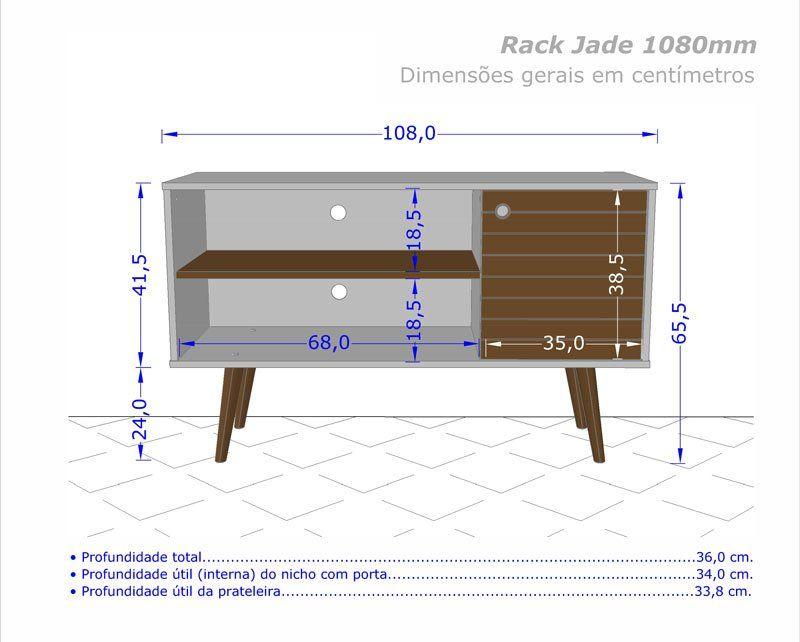 Rack 1.1 Retro Jade Madeira Rústica com Amarelo - Móveis Bechara