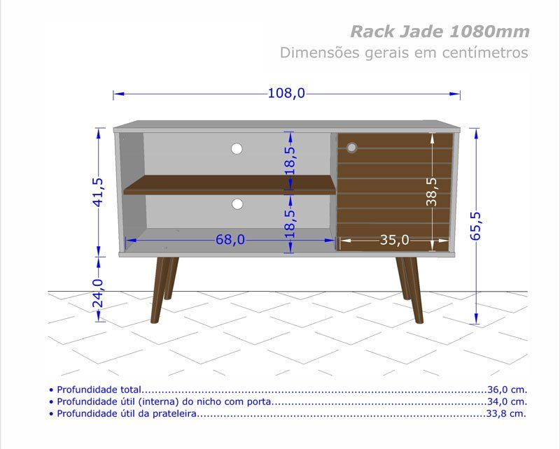 Rack 1.1 Retro Jade Madeira Rústica - Móveis Bechara