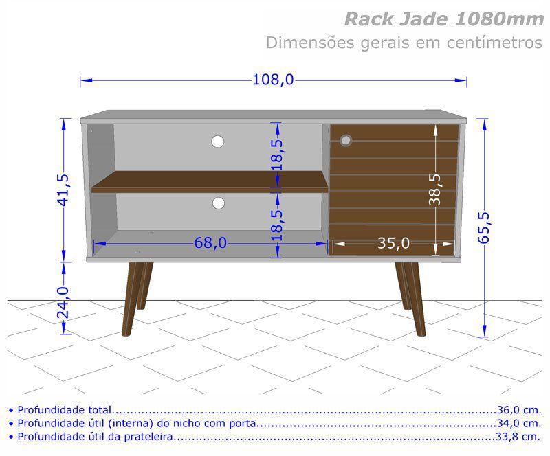 Rack 1.1 Retro Jade Off White com Cinamomo - Móveis Bechara