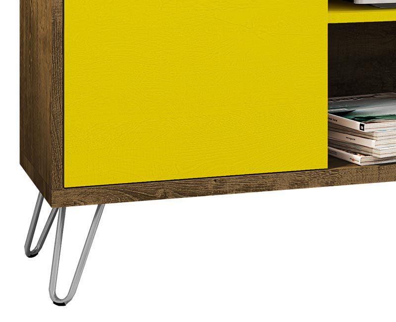 Rack 1.36 Kenzo Madeira Rústica com Amarelo - Móveis Bechara