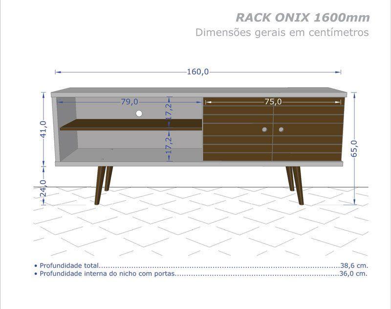 Rack 1.6 Retro Onix Madeira Rústica com Madeira 3D - Móveis Bechara
