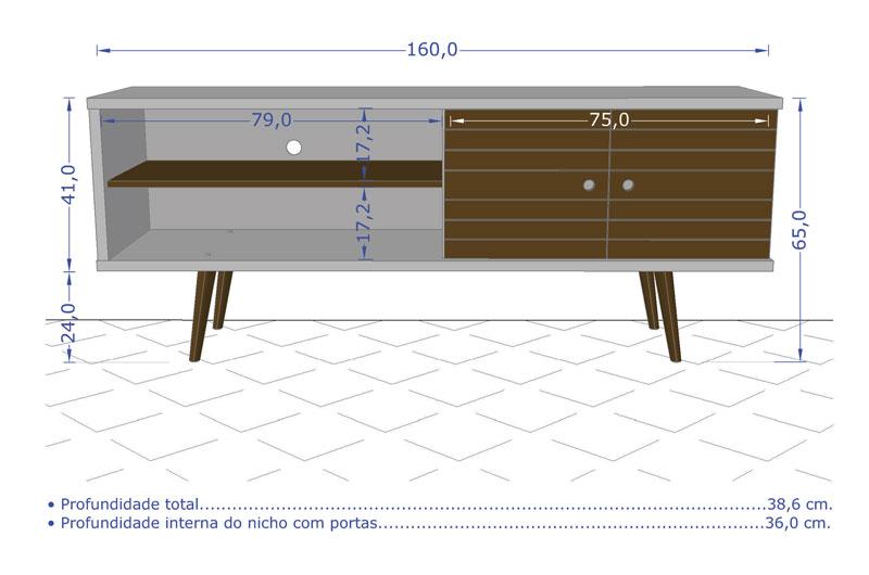 Rack 1.6 Retrô Ônix Madeira Rústica - Móveis Bechara