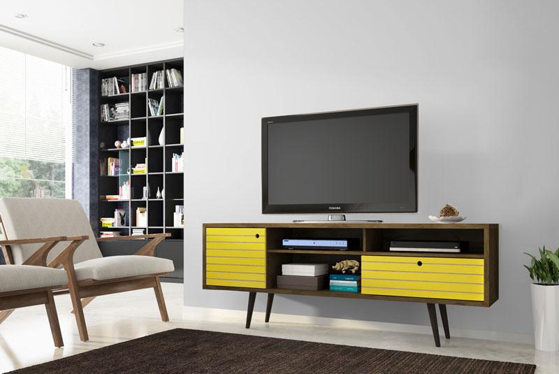 Rack 1.8 Retrô Esmeralda Madeira Rústica com Amarelo - Móveis Bechara  - MoveisAqui - Loja de móveis online!