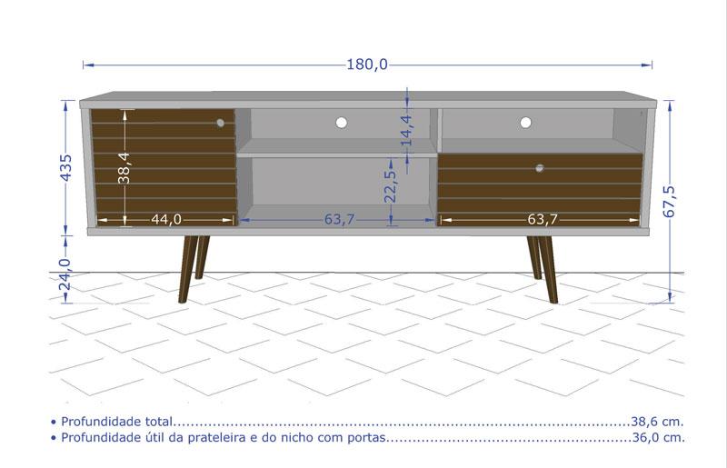 Rack 1.8 Retrô Esmeralda Madeira Rústica com Amarelo - Móveis Bechara