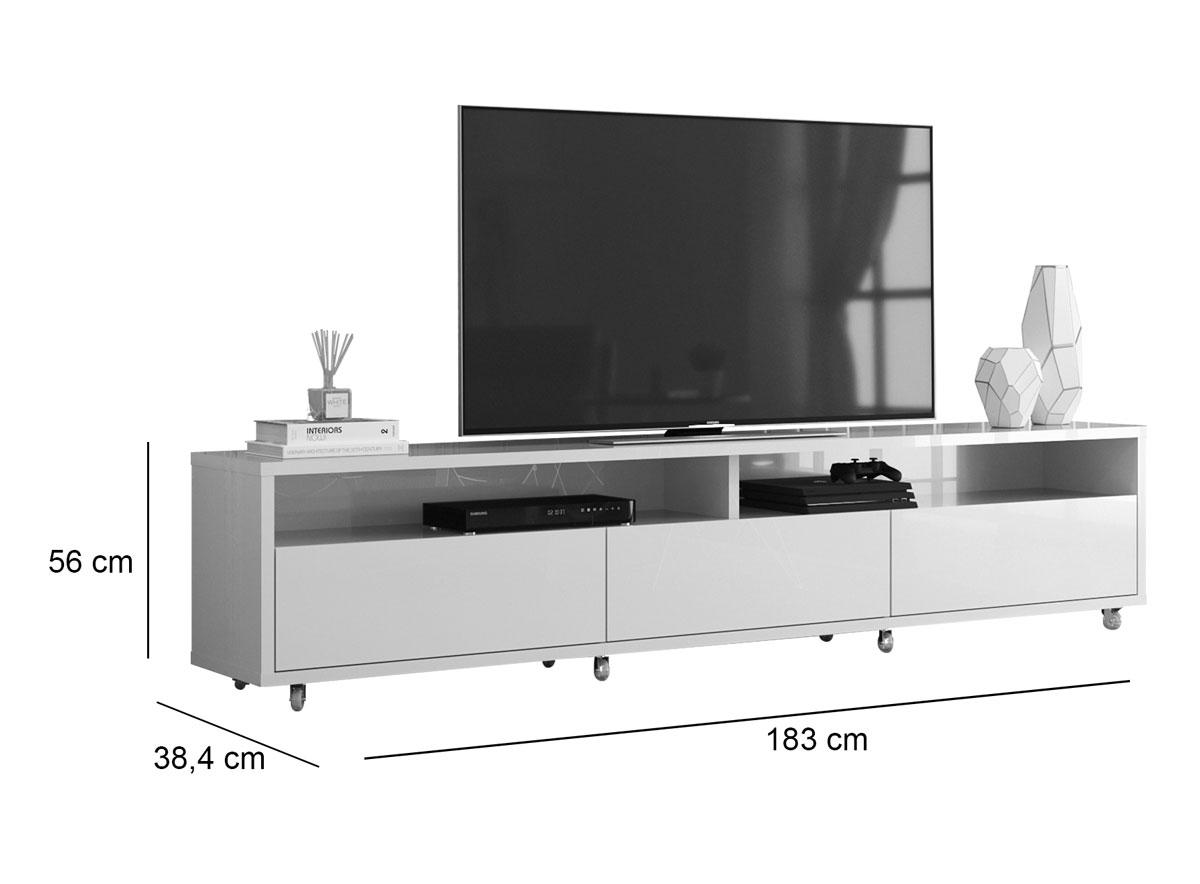 Rack Bancada para TV Aspen 1.8 Madeiro Canela com Off White - MoveisAqui