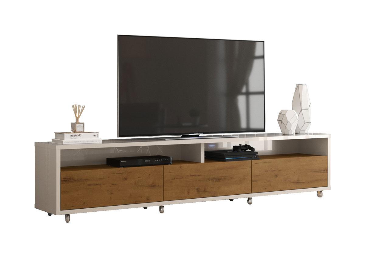 Rack Bancada para TV Aspen 1.8 Off White com Madeiro Canela - MoveisAqui