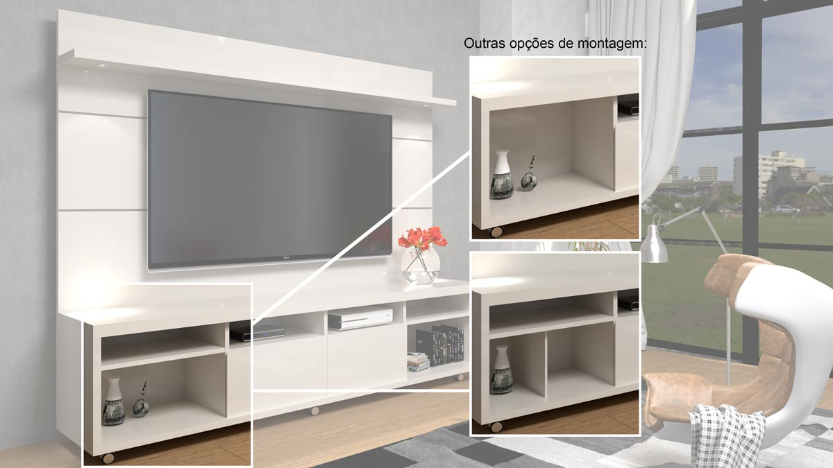 Rack com Painel Arizona 2.2 1P Off White - MoveisAqui