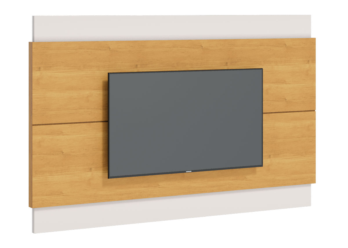 Rack com Painel Classic 2G 1.8 com LED Nature com Off White - Imcal Móveis