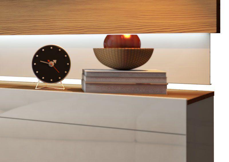 Rack com Painel Classic 2G 2.2 com LED Freijó com Off White - Imcal Móveis