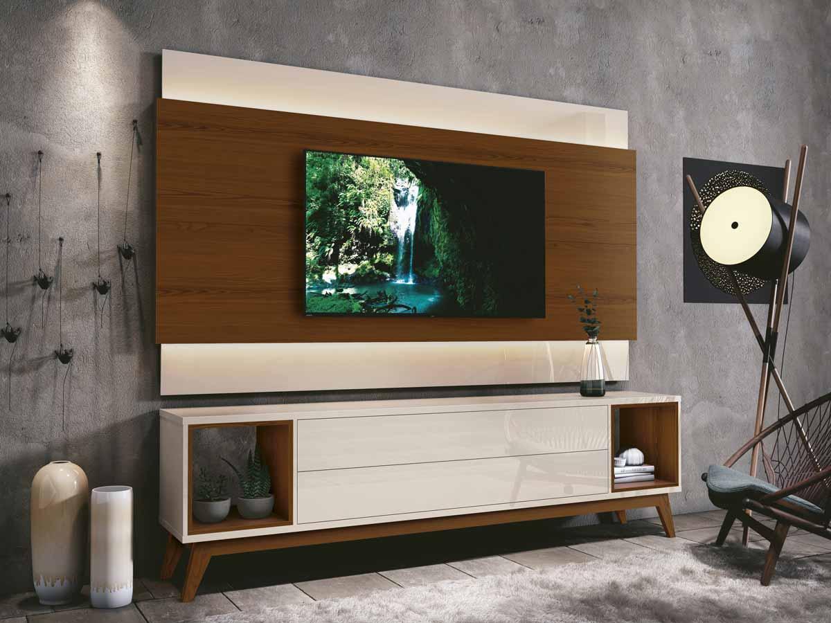 Rack com Painel Delux 1.8 com LED Off White com Natural - MoveisAqui
