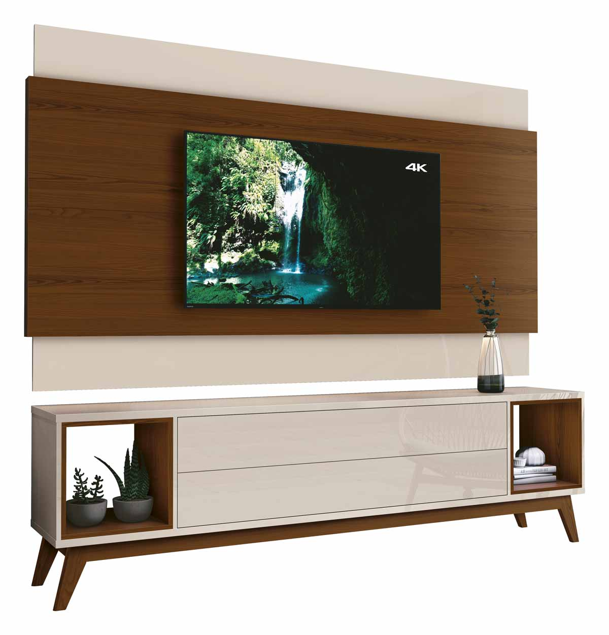 Rack com Painel Delux 1.8 Off White com Natural - MoveisAqui