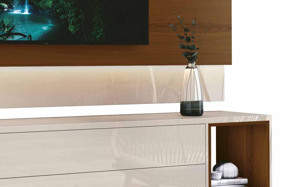 Rack com Painel Delux 2.2 com LED Off White com Natural - MoveisAqui