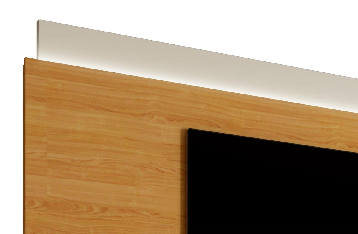 Rack com Painel Delux 2.2 com LED Off White com Nature - MoveisAqui