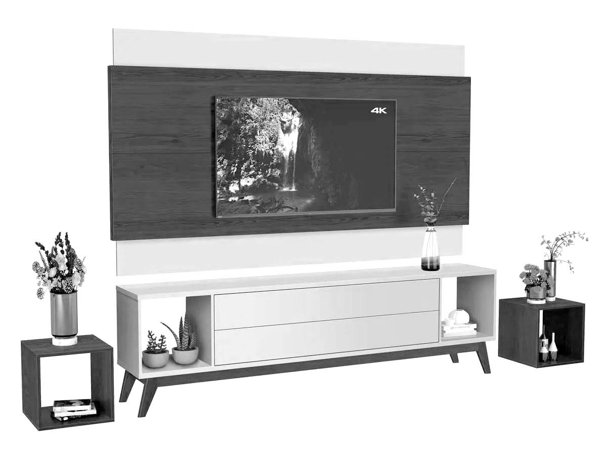 Rack com Painel Horizon 1.8 com LED Off White com Nature - MoveisAqui