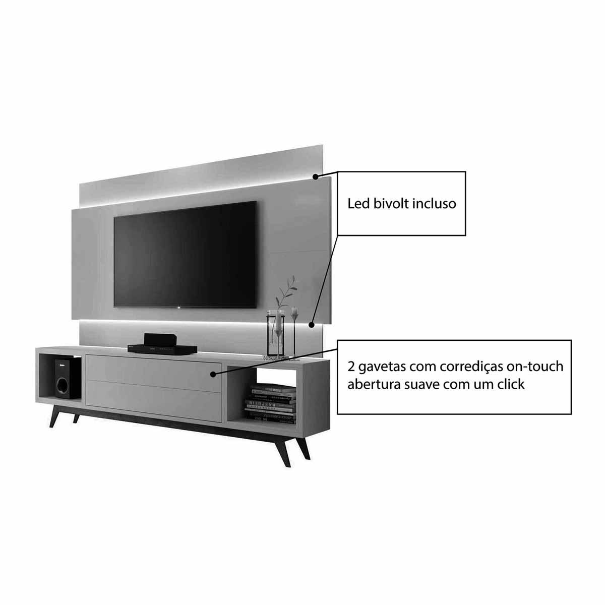 Rack com Painel Horizon 1.8 com LED Off White - MoveisAqui