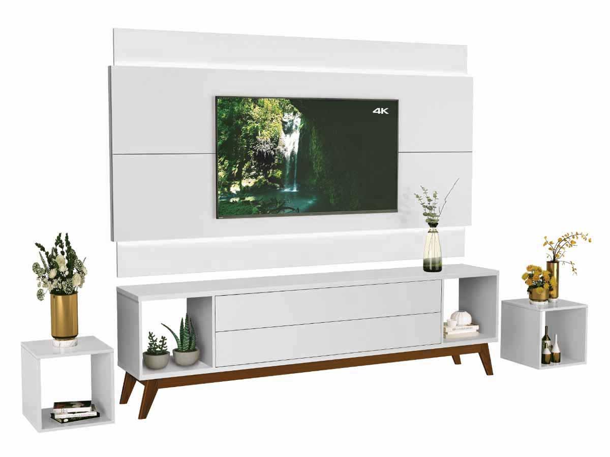 Rack com Painel Horizon 1.8 com LED Branco - MoveisAqui