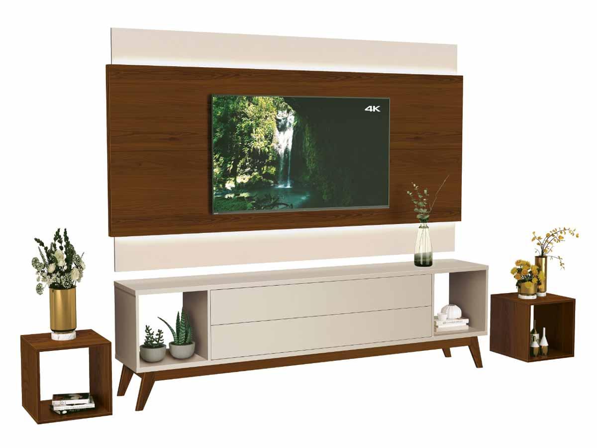Rack com Painel Horizon 1.8 com LED Off White com Natural - MoveisAqui