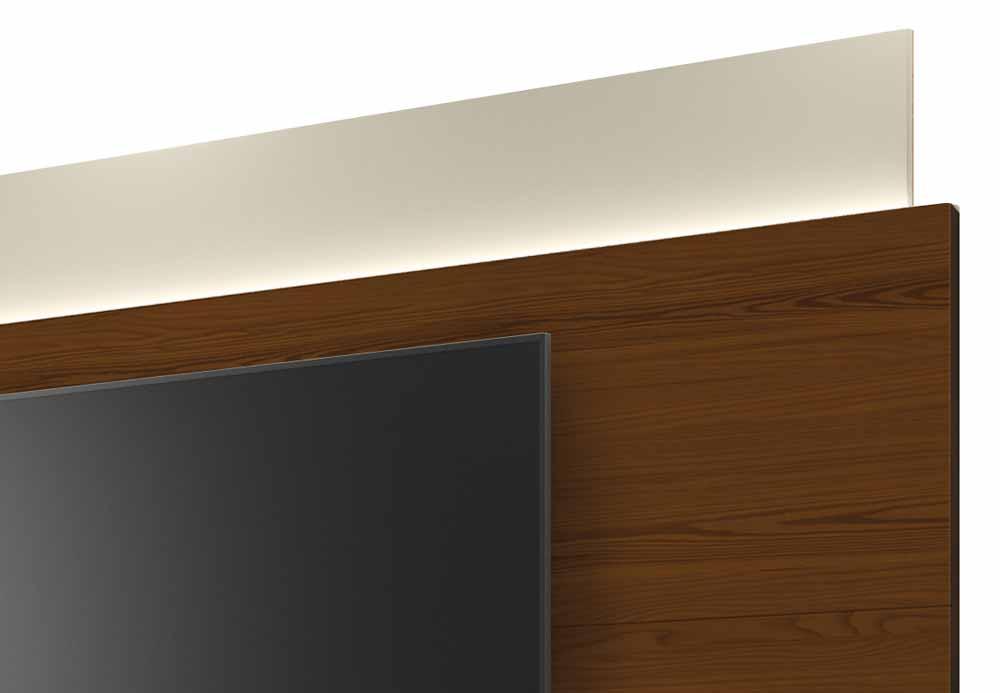 Rack com Painel Horizon 2.2 com LED Off White com Natural - MoveisAqui