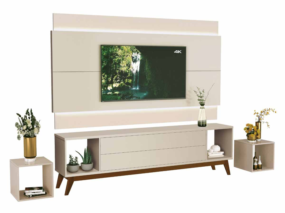Rack com Painel Horizon 2.2 com LED Off White - MoveisAqui