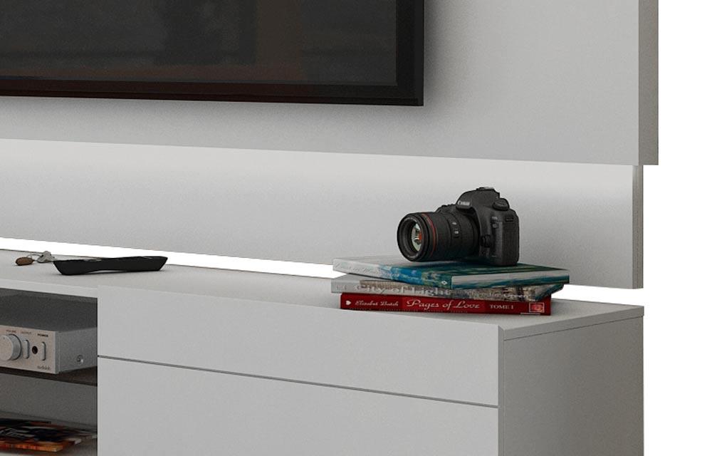 Rack com Painel Para TV 55 Polegadas Branco Classic 2G 1.8 com LED - Imcal Móveis