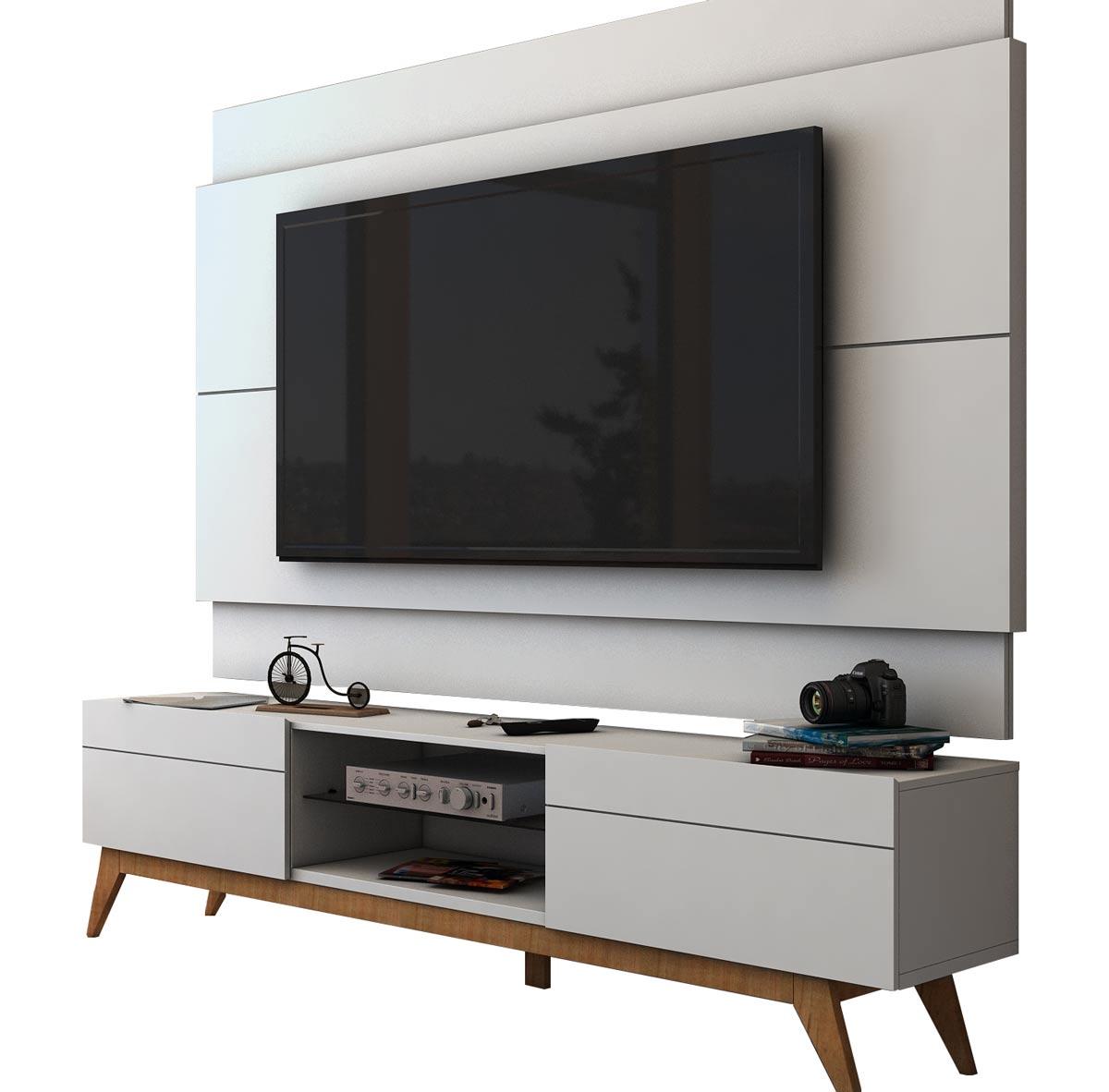 Rack Com Painel Para Tv 55 Polegadas Branco Classic 2g 1 8 Imcal Moveis