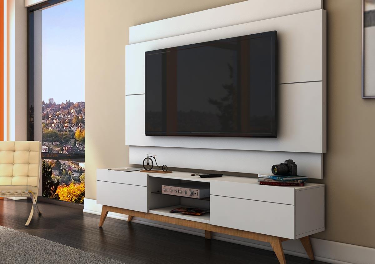 Rack com Painel Para TV 55 Polegadas Branco Classic 2G 1.8 - Imcal Móveis