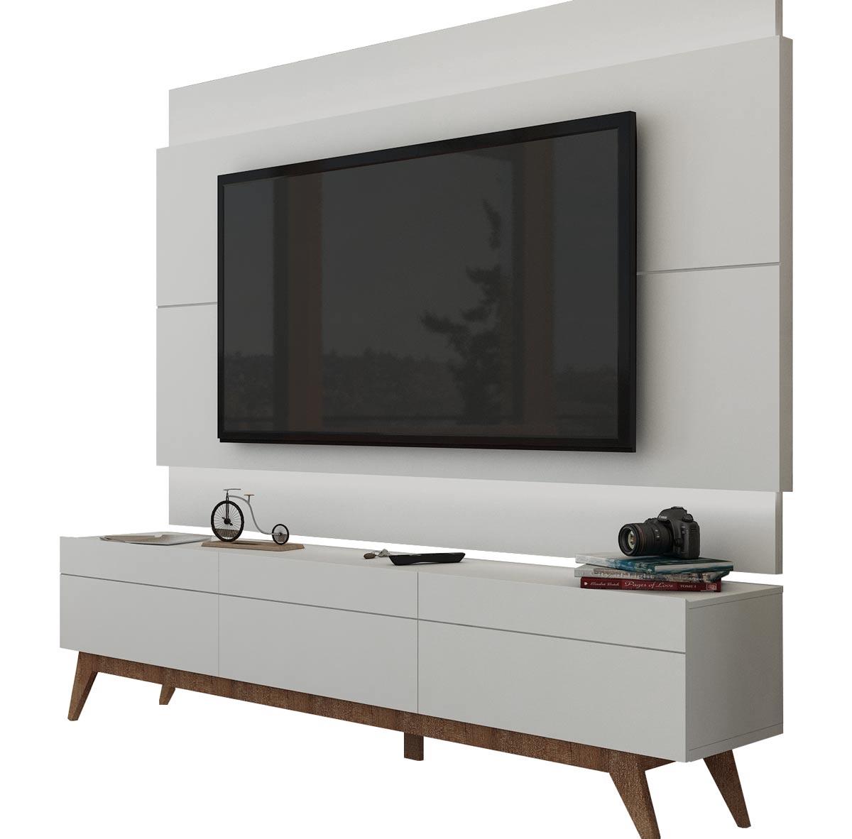 Rack com Painel Para TV 55 Polegadas Branco Classic 3G 1.8 com LED - Imcal Móveis