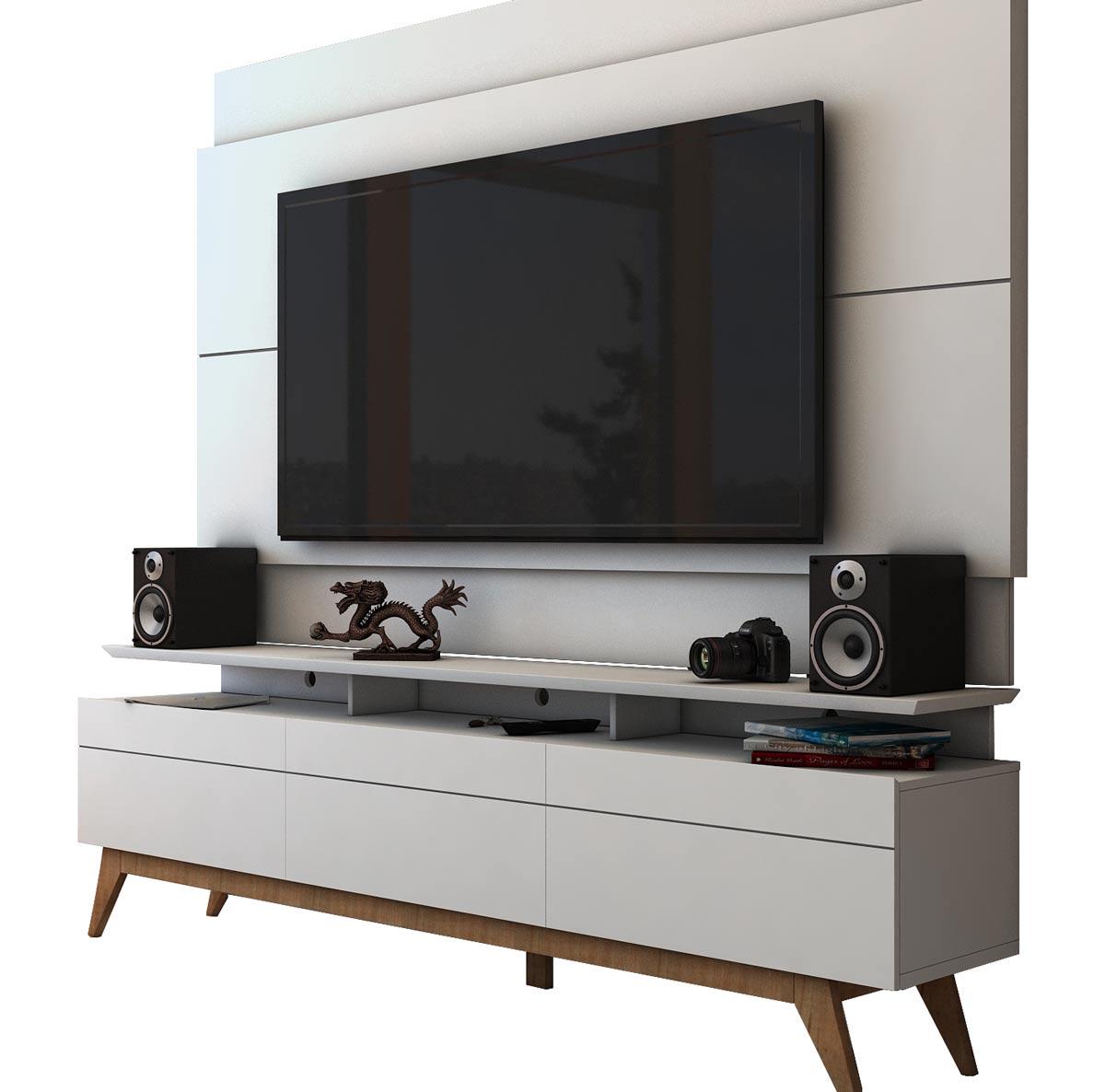 Rack com Painel Para TV 55 Polegadas Branco Classic +3G 1.8 - Imcal Móveis