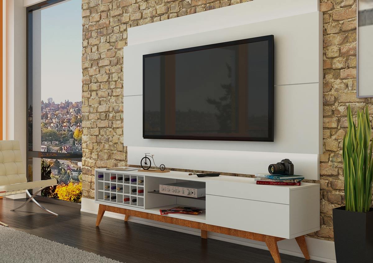 Rack com Painel Para TV 55 Polegadas Branco Classic AD 1.8 com LED - Imcal Móveis