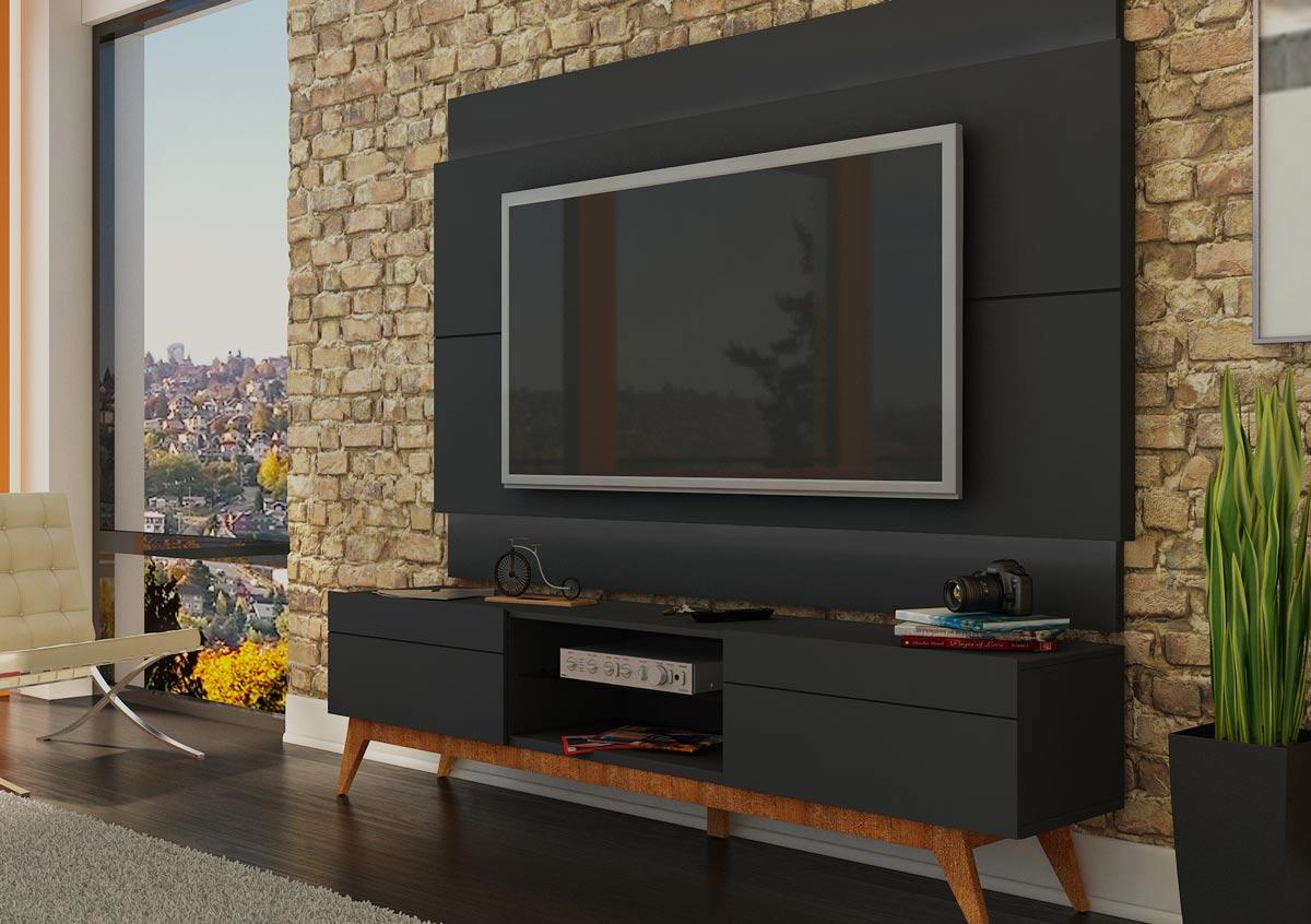 Rack com Painel Para TV 55 Polegadas Preto Classic 2G 1.8 - Imcal Móveis