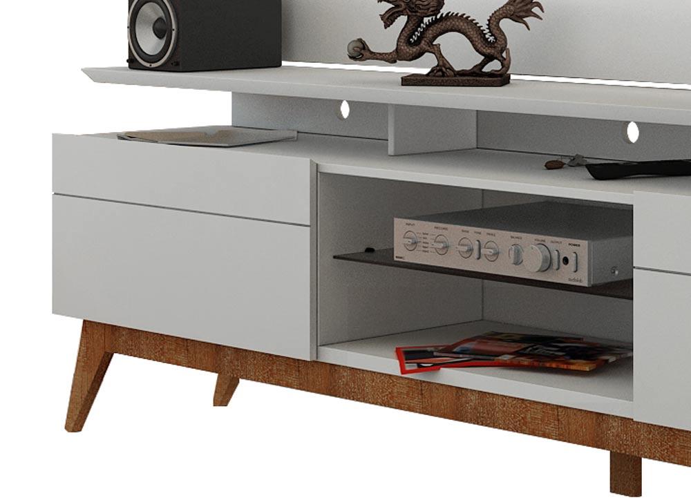 Rack com Painel Para TV 60 Polegadas Branco Classic +2G 2.2 com LED - Imcal Móveis