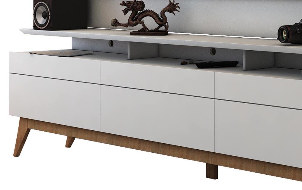 Rack com Painel Para TV 60 Polegadas Branco Classic +3G 2.2 - Imcal Móveis