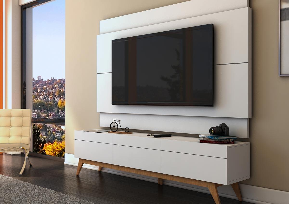 Rack com Painel Para TV 60 Polegadas Branco Classic 3G 2.2 - Imcal Móveis