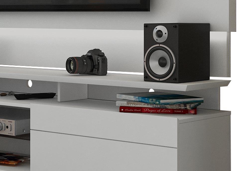 Rack com Painel Para TV 60 Polegadas Branco Classic +AD 2.2 com LED - Imcal Móveis