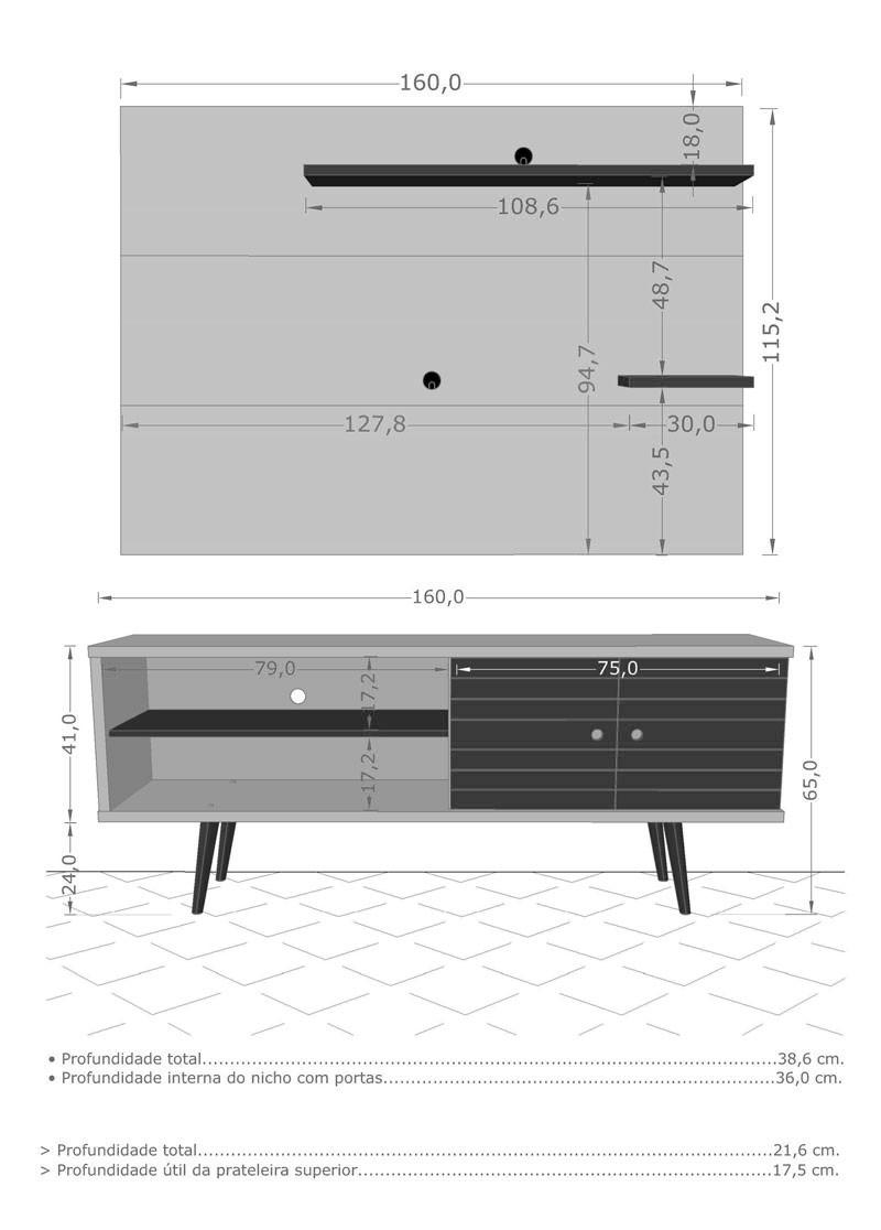 Rack com Painel Retro Onix Branco com Madeira Rustica - Moveis Bechara