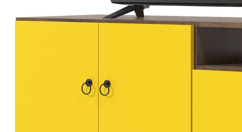 Rack com Painel Topázio Demolição Amarelo - Patrimar Móveis