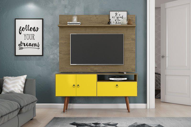 Rack com Painel Topázio Demolição com Amarelo - Patrimar Móveis