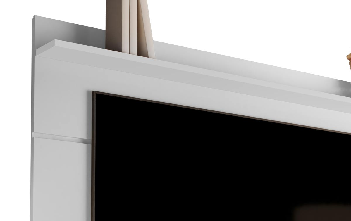 Rack com Painel Vivare Wood 1.6 Branco - Germai Móveis