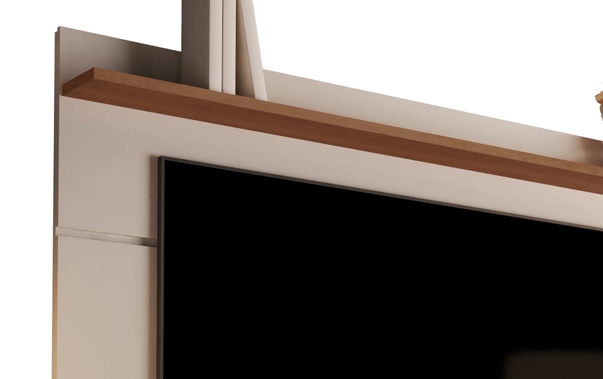 Rack com Painel Vivare Wood 1.6 Off White com Freijó - Germai Móveis