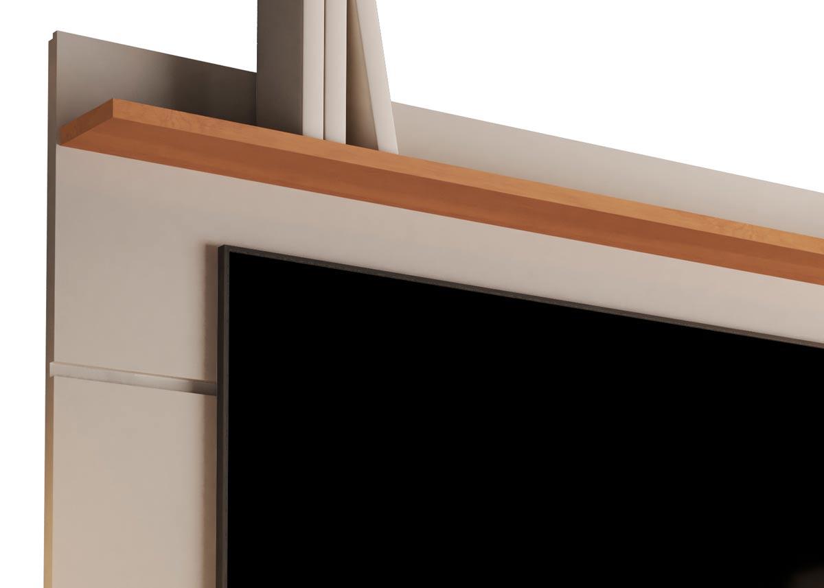Rack com Painel Vivare Wood 1.6 Off White com Nature - Germai Móveis