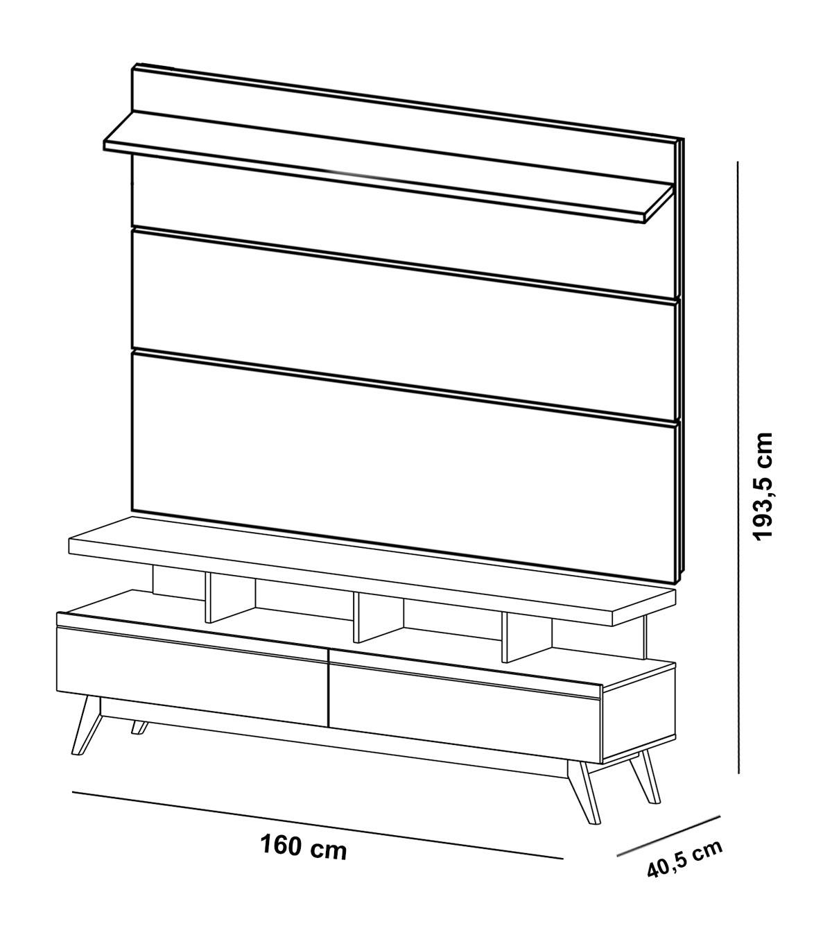 Rack com Painel Vivare Wood 1.6 Preto - Germai Móveis