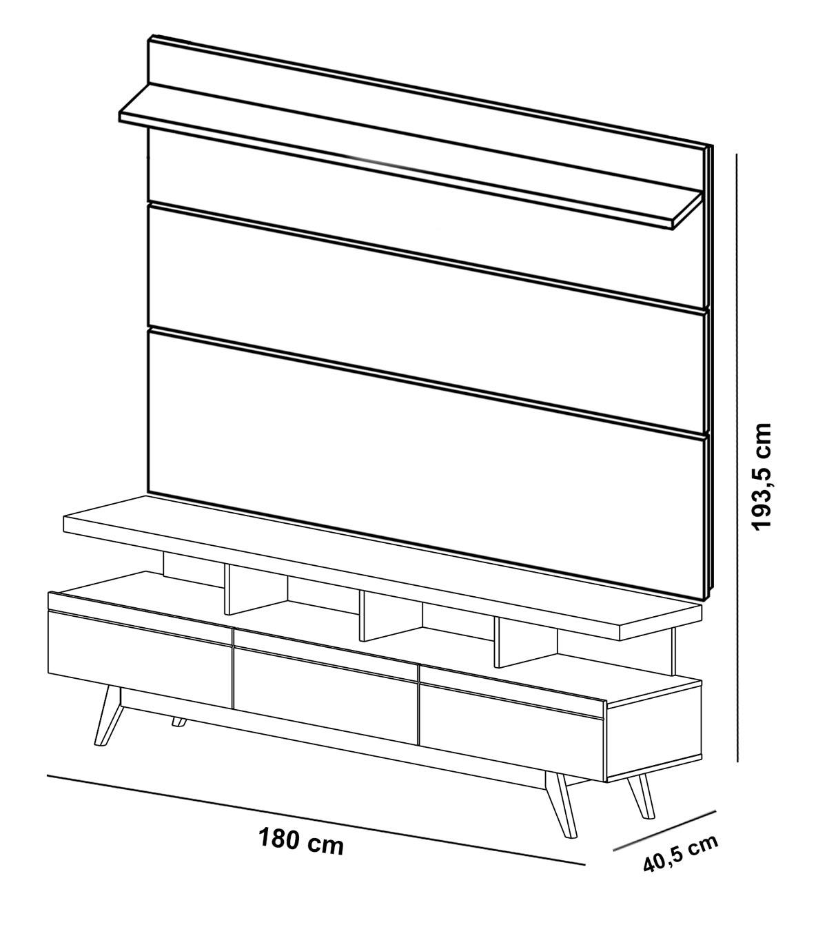 Rack com Painel Vivare Wood 1.8 Preto - Germai Móveis