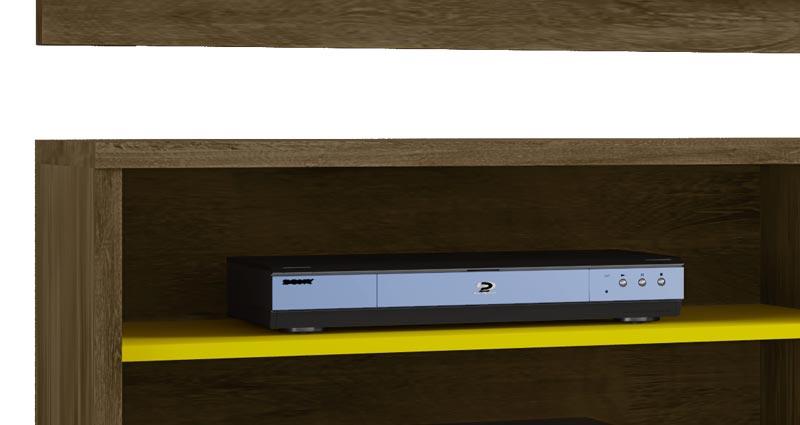 Rack Ônix com Painel Chanel Madeira Rústica com Amarelo - Móveis Bechara