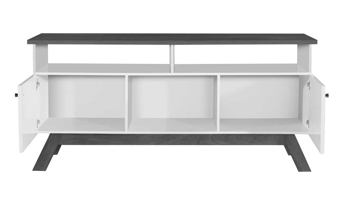 Rack para TV Amsterdã Branco com Madeira - Tebarrot Móveis