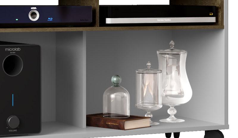 Rack para TV Creta Branco com Madeira Rústica - Móveis Bechara  - MoveisAqui - Loja de móveis online!