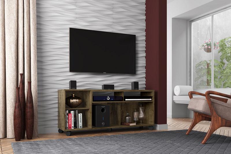 Rack para TV Creta Madeira Rústica - Móveis Bechara  - MoveisAqui - Loja de móveis online!
