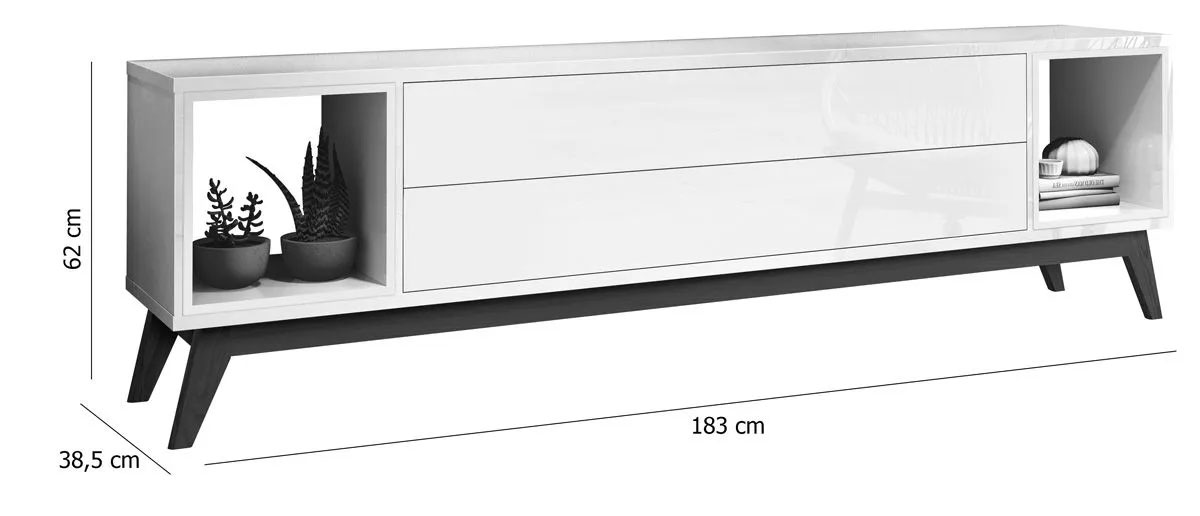 Rack para TV Delux 1.8 Off White com Nature - MoveisAqui