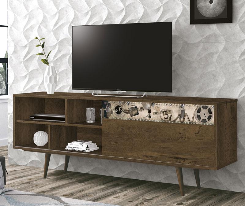 Rack para Tv Euro New Nogal Rustico com Cinema - Edn Moveis  - MoveisAqui - Loja de móveis online!