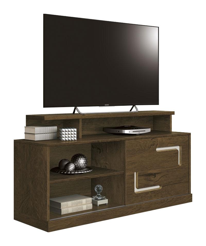 Rack para TV Fiore Nogal Rústico com Off White - Edn Móveis