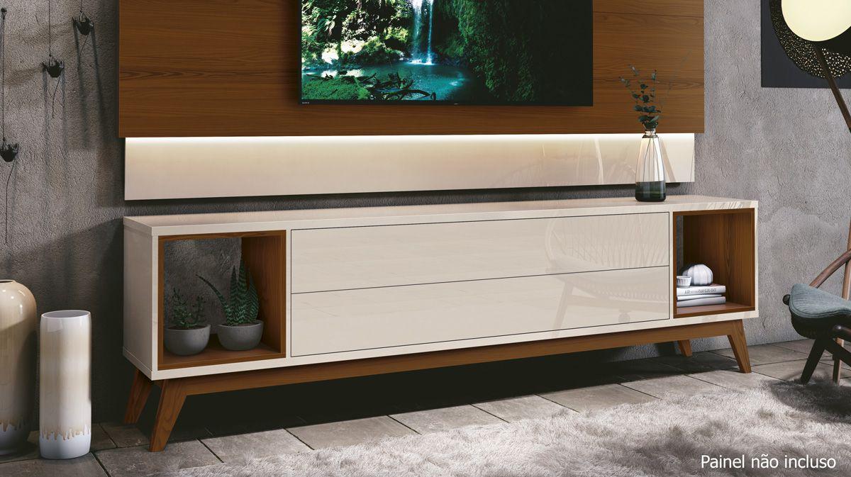 Rack para TV Horizon 1.8 Off White com Natural - MoveisAqui